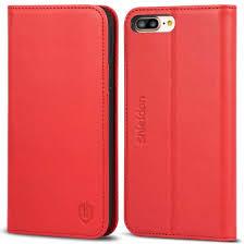 shieldon iphone 8 plus wallet case red color magnet closure kickstand function flip cover folio style