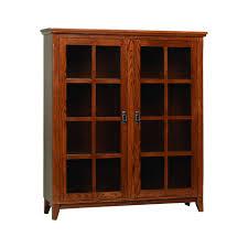 furniture oak wall unit bookshelves with glass doors
