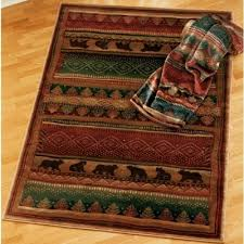 bear walk bears pine trees rustic cabin lodge area rug