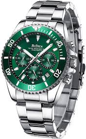 Mens Watches Chronograph Green Stainless Steel ... - Amazon.com