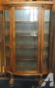 oak curio cabinets with curved glass cabinet classifieds com antique china for replacement