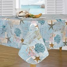 everyday luxuries by newbridge coastal haven flannel backed indoor outdoor vinyl table linens 60 inch by 84 inch oblong