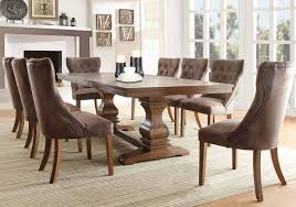 dining room table and fabric chairs. Double Pedestal Dining Table In Weathered Oak Finish And Tufted Fabric Side Chairs Room R