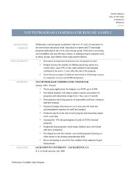 Sample Youth Program Coordinator Resume Sample Youth Program Coordinator Resume Hatch Urbanskript Co 11