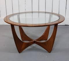 image of modern teak round coffee table