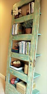design features an early 20th century solid wood door hand selected from a salvaged home and delicately recrafted into an artisan bookshelf