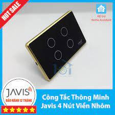 Công tắc thông minh JAVIS 4 nút viền vàng. Công tắc cảm ứng WIFI hỗ trợ  Google/Alexa/Hass-MQTT
