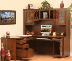 wooden l shaped computer desk with hutch