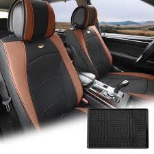 pu leather seat cushion covers front bucket brown w dash mat for auto 0
