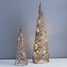 Cone Shaped Christmas Tree Lights Gold Cone Trees With Lights Two Sizes