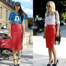 midi red leather skirt outfits with high heels