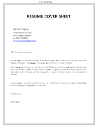 Resume Cover Sheet Example