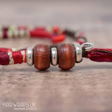 removable brown black and red hair wrap with wooden beads toadstool