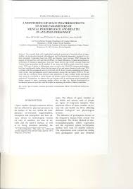 pdf a monitoring of e weather effects on some parameters of mental performance and health in aviation personnel
