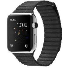 apple watch series 1 42mm stainless steel case with black leather loop band