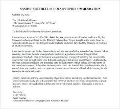 Recommendation Letter Template For Student Scholarship
