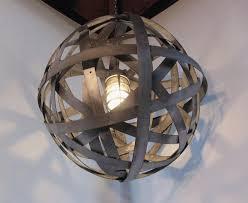orbits urban chandelier recycled wine barrel metal hoops galvanized steel bands ceiling