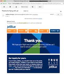 jetblue customer thank you letter