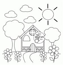 Springtime Coloring Pages Preschool House Images Get Coloring Page