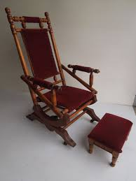 regency mid century antique vintage spindle platform rocking chair with stool regency