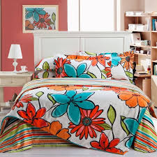 venetian red orange turquoise and white tropical flower print rustic southwestern style 100 cotton full queen size bedding sets