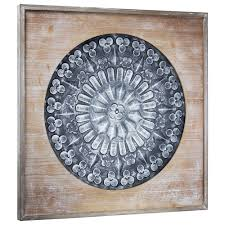 framed embossed metal medallion rustic wood wall decor home art country style on country style metal wall art with framed embossed metal medallion rustic wood wall decor home art