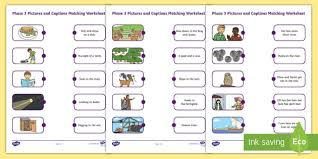 Here, you will find free phonics worksheets to assist in learning phonics rules for reading. Phase 3 Pictures And Captions Matching Worksheets Phase 3