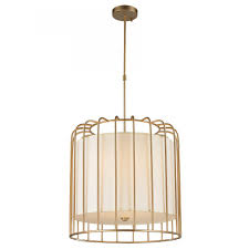 sprocket collection 9 light metal cage pendant light in matte gold finish with ivory shade d24