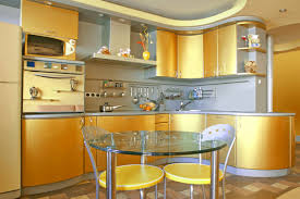 Kitchen:Plush Bright Kitchen With Yellow Walls And White Cabinets Also  Minimalist Stools Playful Bright