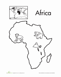 Free coloring maps for kids | map coloring printouts world. Color The Continents Africa Worksheet Education Com