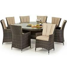 maze rattan garden furniture la brown 8 seater round dining table set