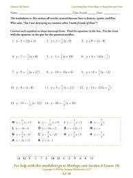 writing equations using slope intercept form worksheet answer key inside writing equations in slope intercept form