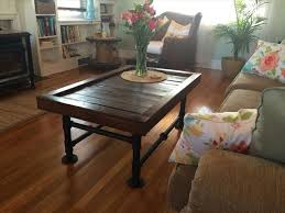 diy pallet iron pipe. Handcrafted Wooden Pallet Coffee Table With Metal Pipe Legs Diy Iron