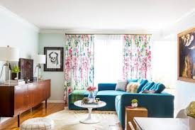 blue eclectic living room with fl curtains