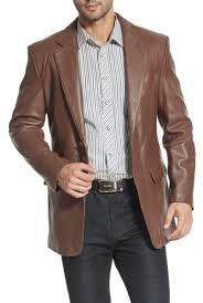two on leather blazer