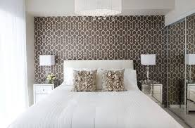feminine bedroom design with a brown wallpaper