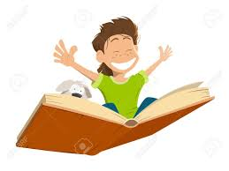 vector vector character ilration of happy smile kid boy child flying on a big open book with cute puppy