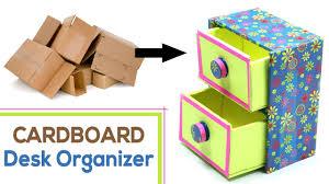 How to Make DIY Desk Organizer with <b>Waste</b> Cardboard Craft ...