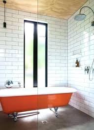 mid century modern shower curtain bathroom clean folded white towel unique glass