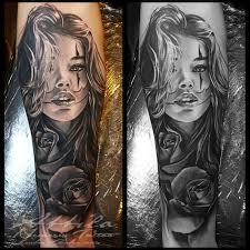 Girl Clown Face Designs Clown Face Girl And Rose Tattoo Girl Face Tattoo Portrait