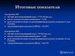 Презентация на тему ДИПЛОМНАЯ РАБОТА на тему Оценка  10 Итоговые показатели
