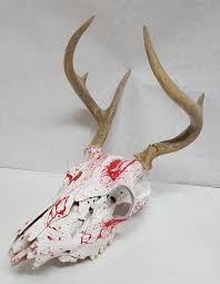 hydro dipped deer skull in blood splatter from toxic hydrographics