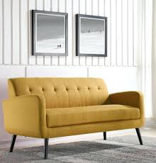 yellow loveseat modern mid century microfiber sofa tufted ons living room furniture for mustard