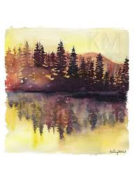 this is a print from my original watercolor painting misty pines the print version comes on 100lb high quality satin cover paper 4 x 6 print 10 5 x