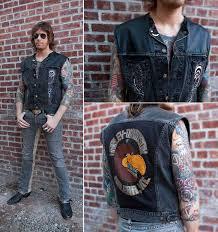 burnmethod rock vest denim leather bandana black gray