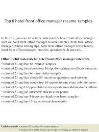 Office Manager Resume Examples Top 8 Hotel Front Office Manager