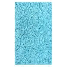 perthshire aqua 20 in x 30 in circles latex back bath rug
