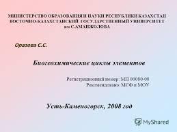 Презентация на тему Биогеохимические циклы элементов  1 МИНИСТЕРСТВО ОБРАЗОВАНИЯ