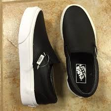 black leather slip in vans women s 5 new m 57a935f37fab3a4f7004ee1a