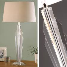 art deco gatsby crystal table lamp beige shade 0